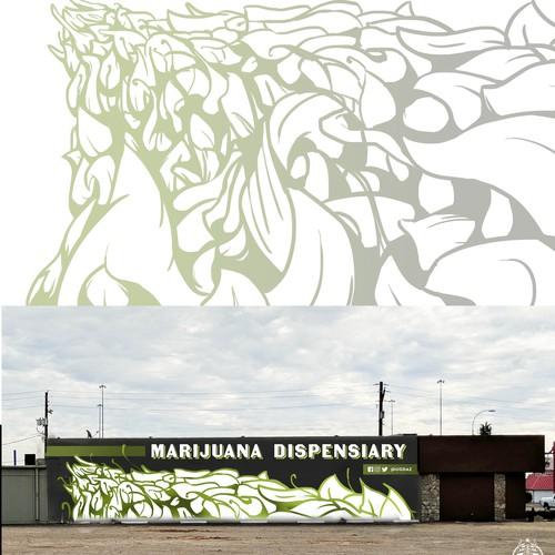 Marijuana themed mural