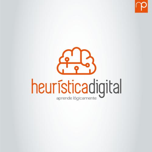 Logo para heurística digital, video Tutoriales de diseño 3D en linea