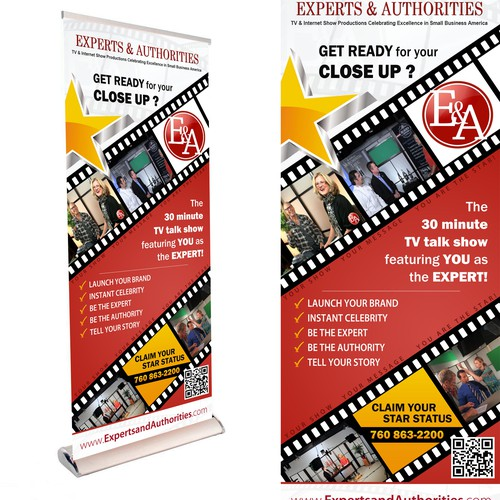 TALL BANNER for Tradeshow. Interview Talk Show seeking conference materials to promote the show at events, t