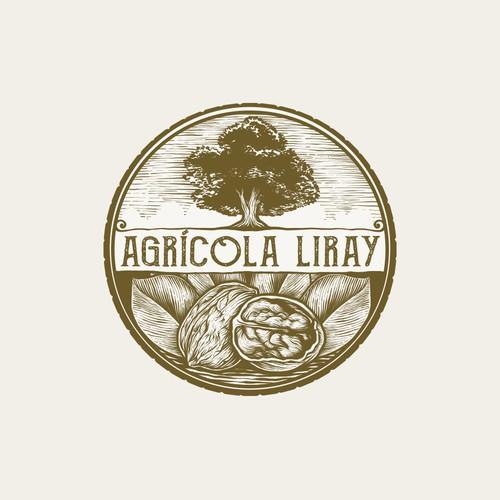 vintage logo with hand drawn illustration