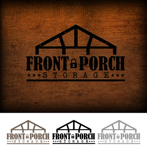 Create a simple vintage front porch illustration for Front Porch Storage