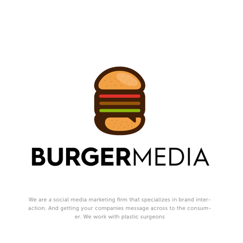 Bold Illustrative logo for Burger Media.