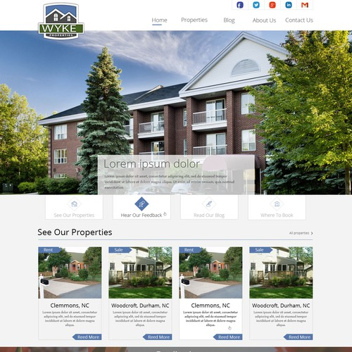 Create website design for boutique vacation rental company!