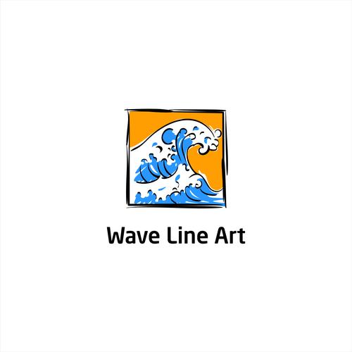 Wave Line Art Logo Design