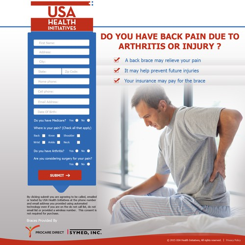 landing page for back pain braces