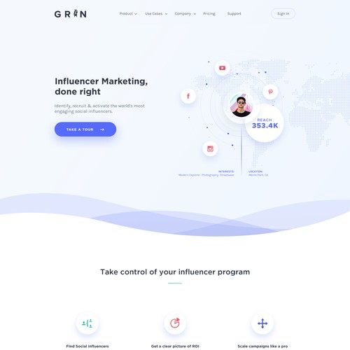 Homepage for influencer marketing platform.