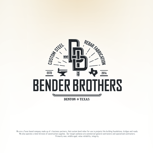 A strong vintage-industrial inspired logo for a Texas based custom rebar fabrication company