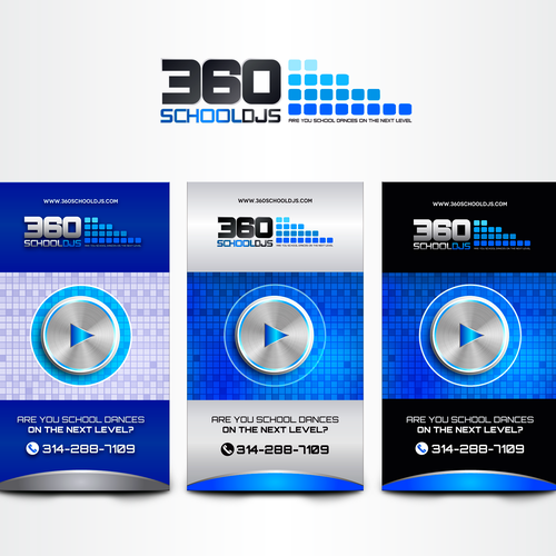 High school inspired creative logo and business card for DJ company aimed at school dances.