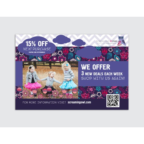 Fun and whimsical packaging insert needed for boutique