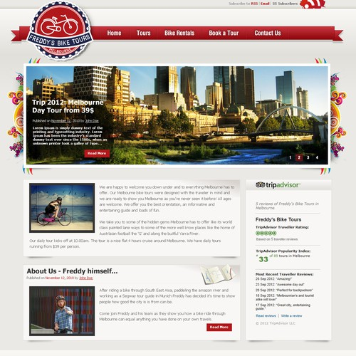 Freddy's bike tours needs a new website design
