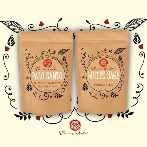 Label design for Shamans Market