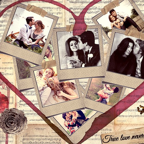 Valentines Day inspired photo collage for 4 to 8 photos
