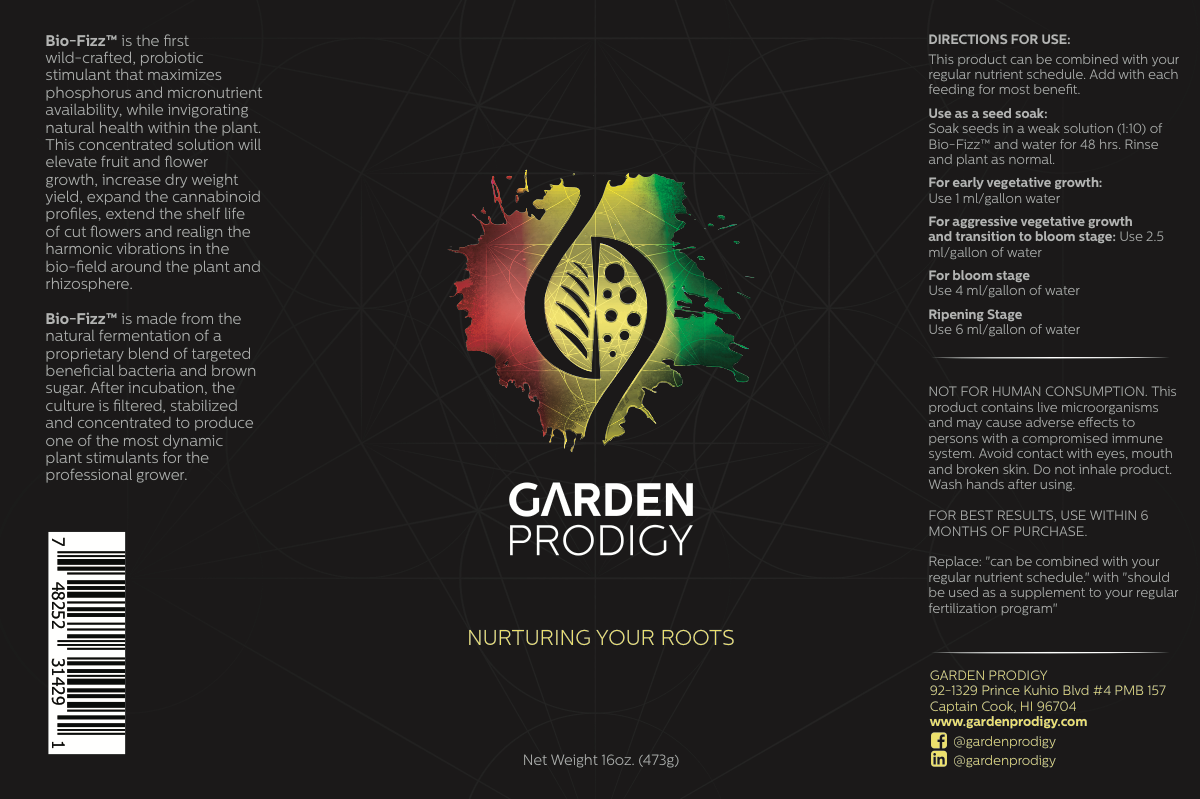 Garden Prodigy BioFizz™ Root Stimulant Label