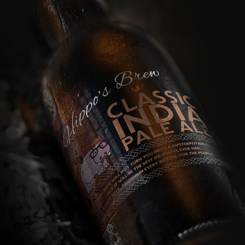 Bottle Label for Hippo's Factory - Switzerland Based Micro-Brewery