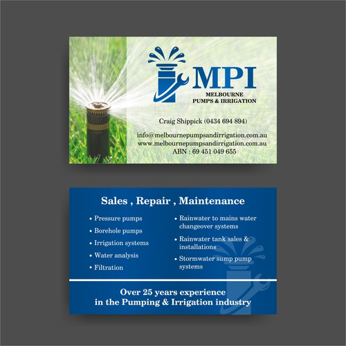 Business Card for Melbourne Pumps & Irrigation