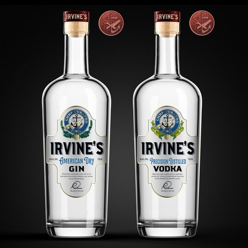 IRVINE'S GIN and CORN VODKA labels