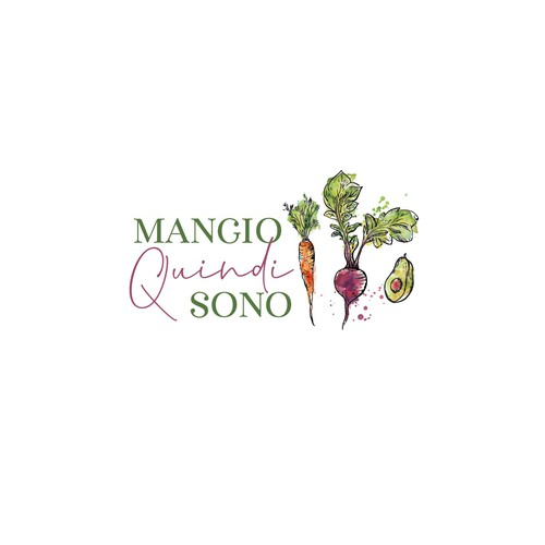 hand drawn logo for mangio quindi sono