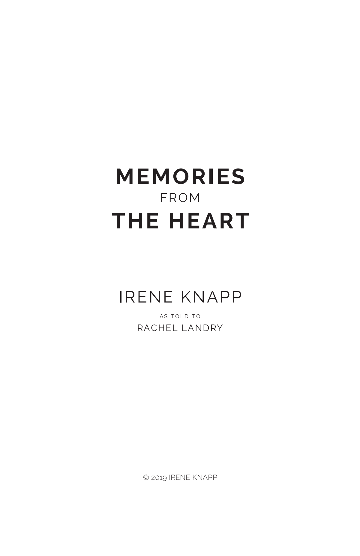 Memories From The Heart - Format the book