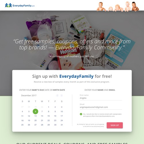Landing page EverydayFamily.com