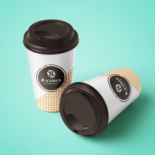 Paper cup design for 8 O'clock Coffee Shop
