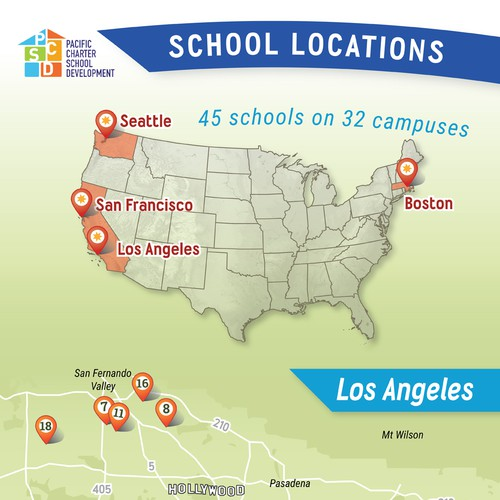 Infographic showing school sites