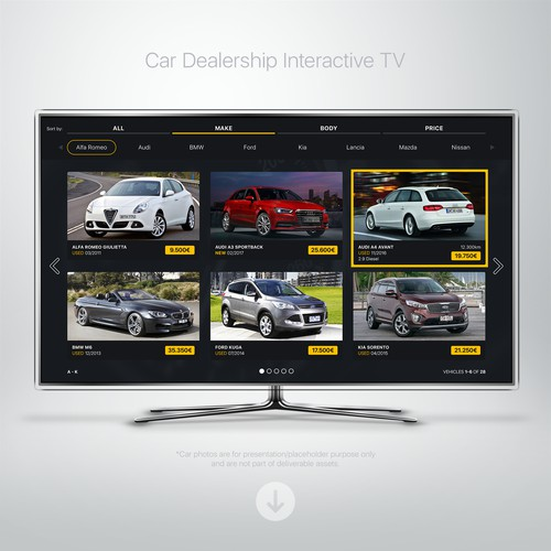 UI for Car Dealership Smart TV App