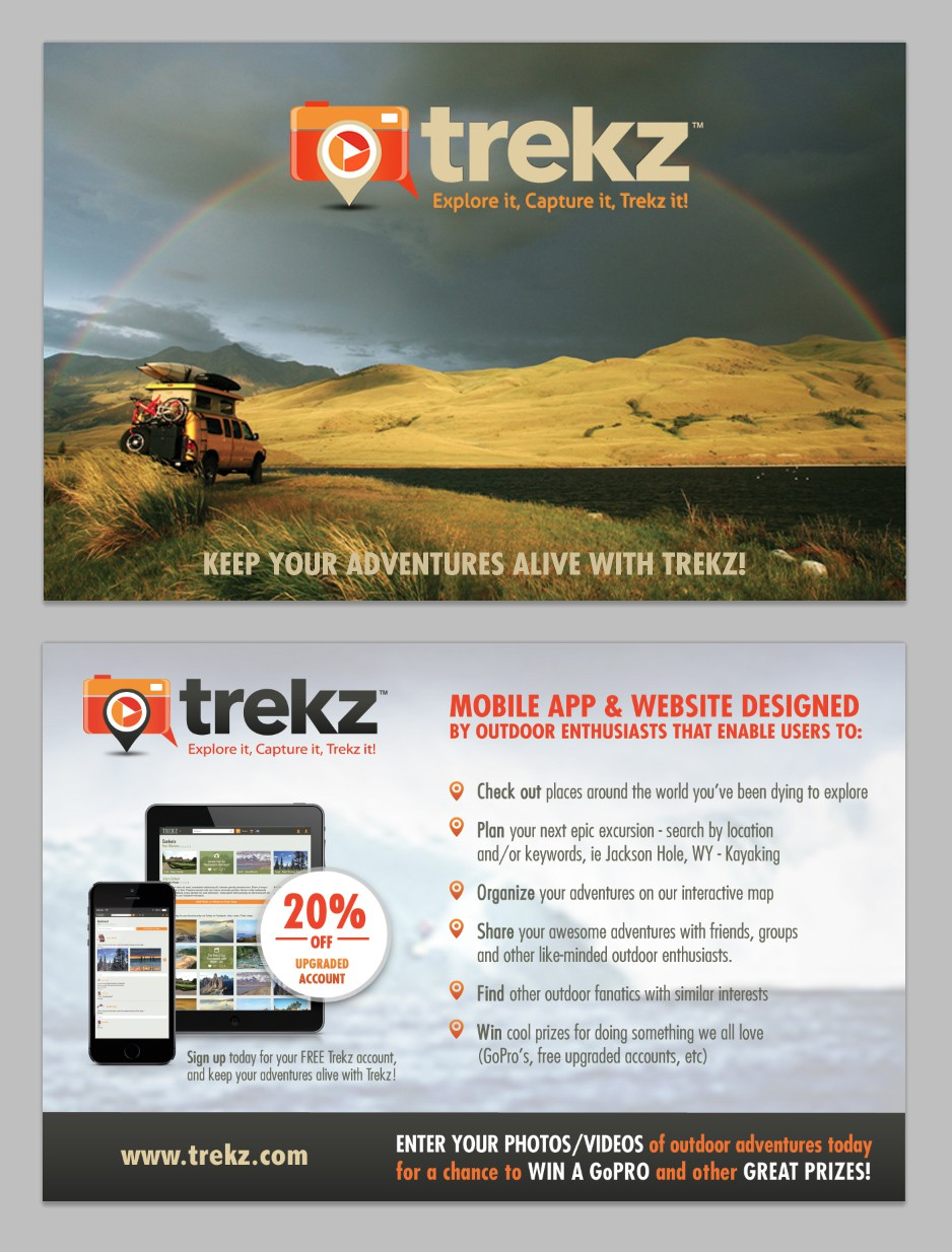 **Guaranteed $** Promo postcard for HOT new outdoor focused social media app & website - TREKZ!
