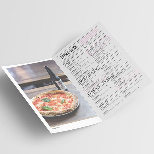 HOME SLICE takeout menu