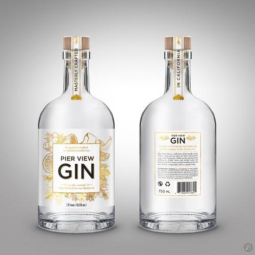 Winning Gin label design