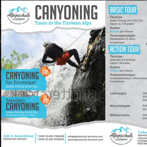 Create a powerful, sporty and creative Flyer for our CANYONING - Tours in the Tirolean Alps (Austria
