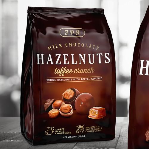 Hazelnuts milk chocolate toffee coating