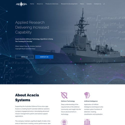 Website for Defence Software Acacia Systems