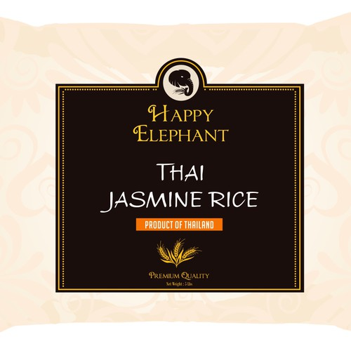 Create simple but eye catching product packaging for jasmine rice