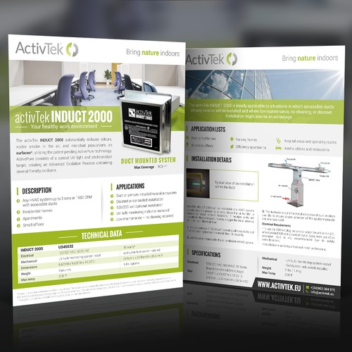 Specs sheet template for Air Purification Company - ActivTek