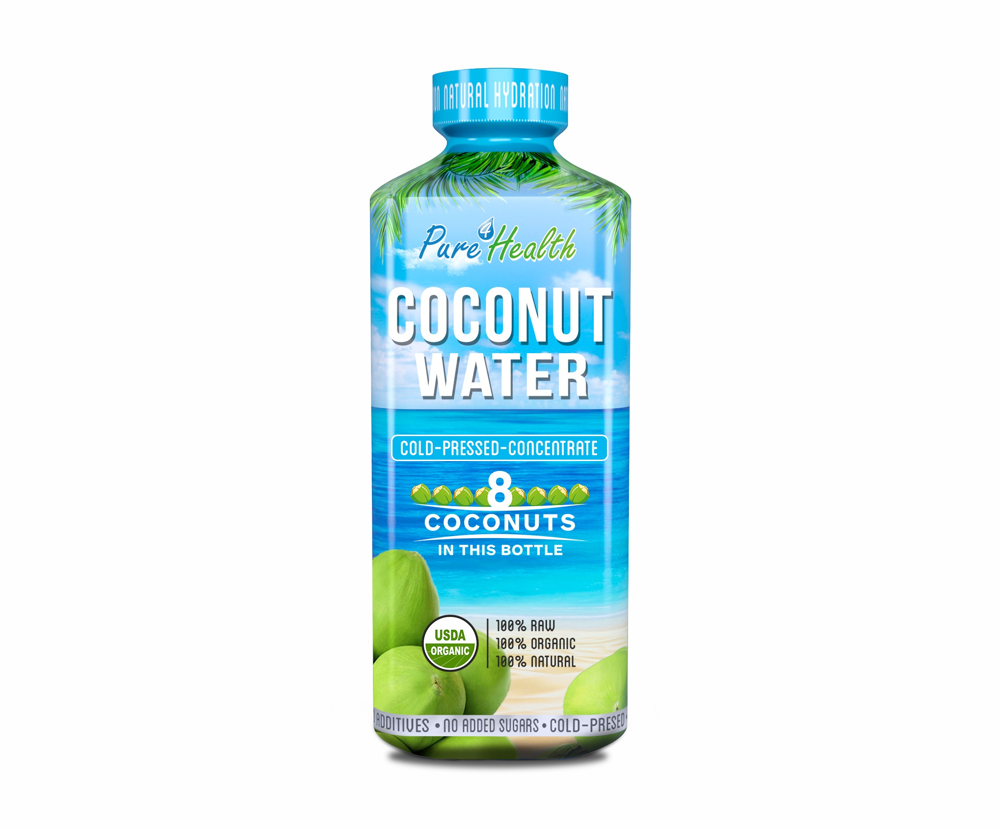 Create a logo and bottle label for the hottest new coconut water on the market