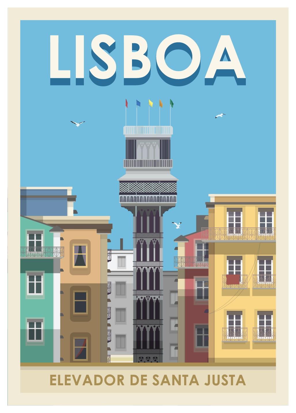 Design us a a vintage Styled Lisbon Atraction