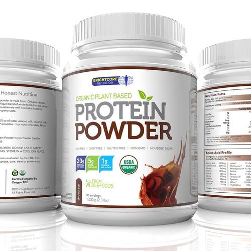 Protein Powder Chocolate flavor Label