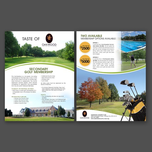 Golf Flyer for Oakwood Country Club