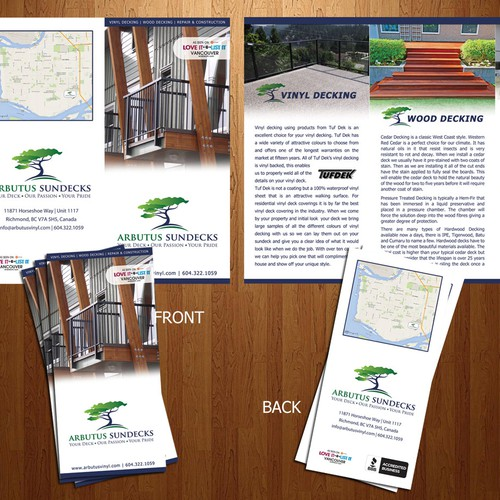 Create a clean attractive Brochure for a high end sundeck company