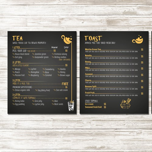 menu for a contemporary boba tea house