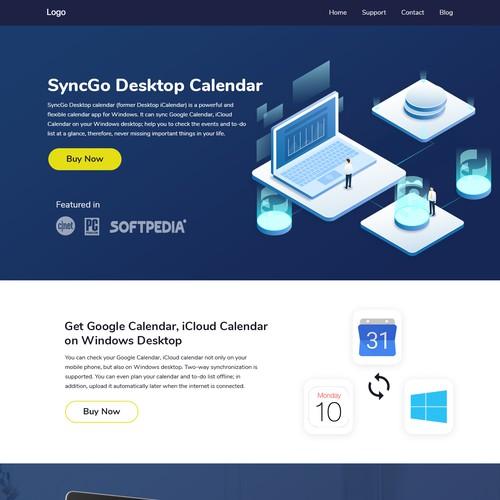SyncGo calender landing page design