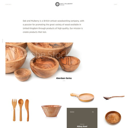 Clean minimal furniture and wood product website