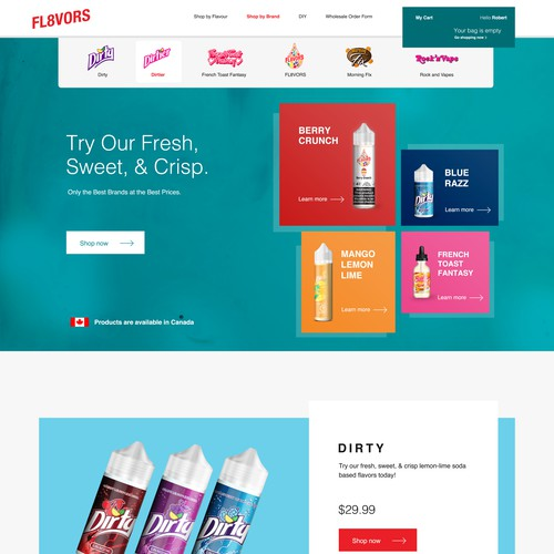 Landing page exploration for fl8vors
