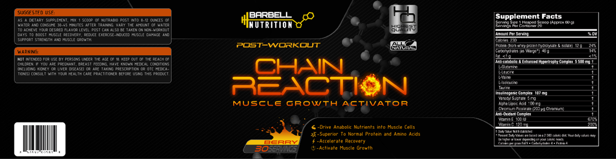 Barbell Nutrition is looking for a sleak, yet professional looking label for our new a fat-burner supplement.