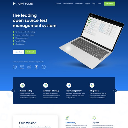 Web Design Concept for an Open Source Software Testing Suite