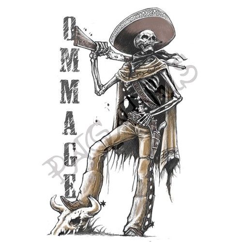 Mexican Cowboy Skeleton digital artwork required for tshirt print