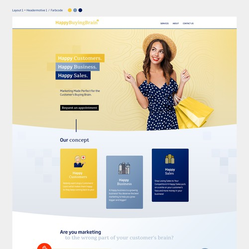 Website layout for marketing business