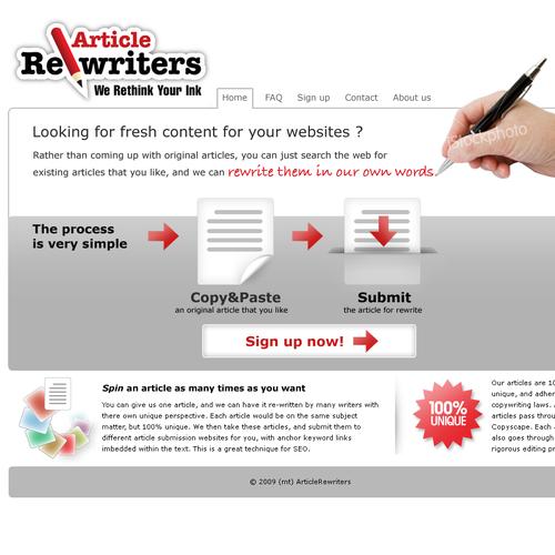Homepage Design for Writing Service (GUARANTEED WINNER!)