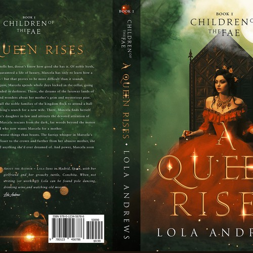 "Book cover for LGBT fantasy novel ""A Queen Rises"""