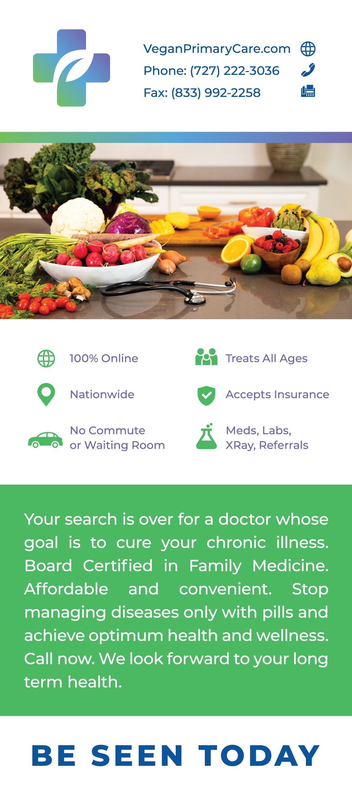 VeganPrimaryCare: Update Name of Dr. Office, Tele-medicine, Solo Vegan Doctor